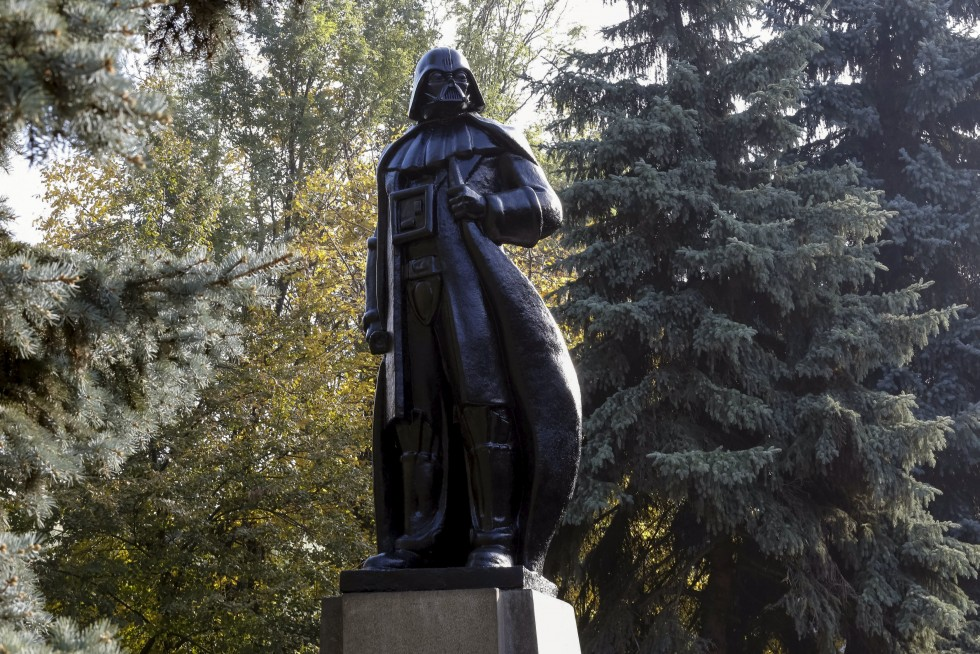 "Image: Monument to character of Darth Vader from ""Star Wars"", which was rebuilt from statue of Soviet state founder Lenin is seen in Odessa"